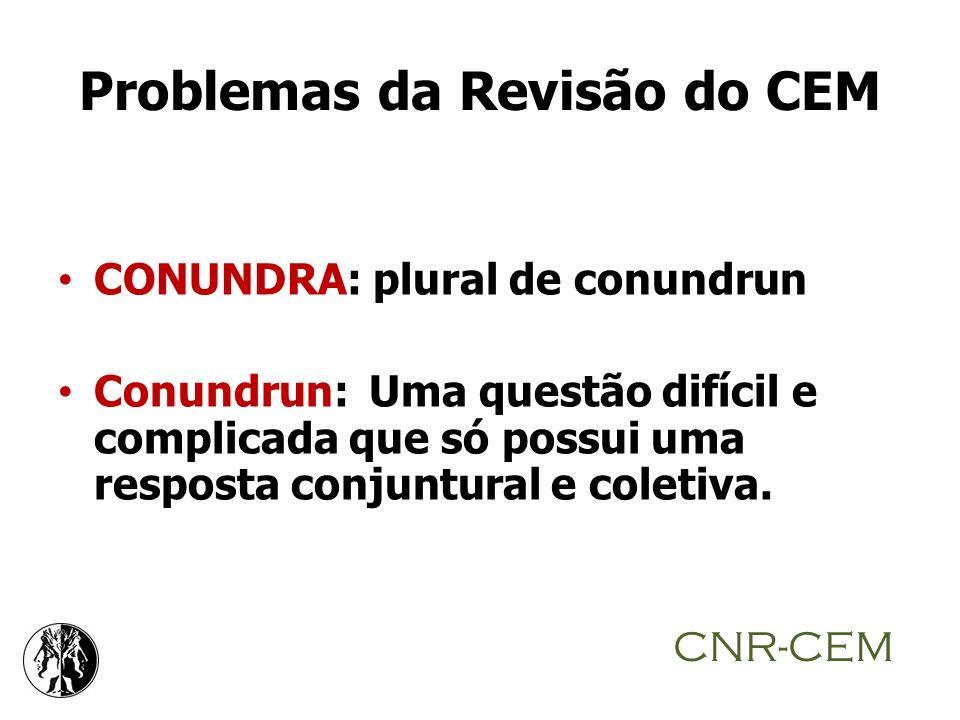 Problemas da Revisão do CEM CONUNDRA: plural de conundrun Conundrun: Uma questão difícil e complicada que só possui uma resposta conjuntural e coletiv