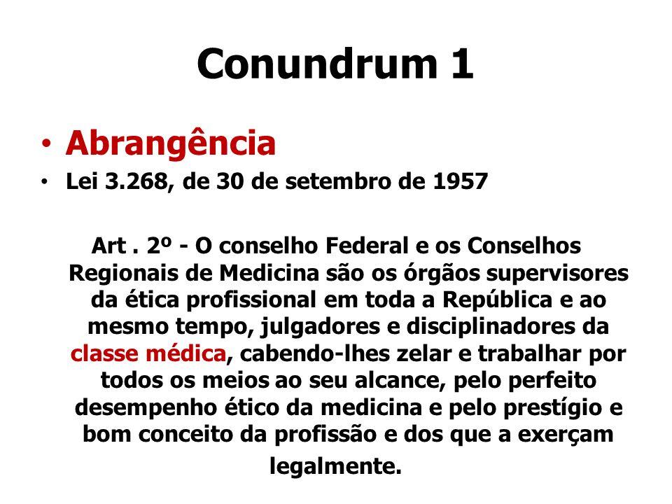 Conundrum 1 Abrangência Lei 3.268, de 30 de setembro de 1957 Art. 2º - O conselho Federal e os Conselhos Regionais de Medicina são os órgãos superviso
