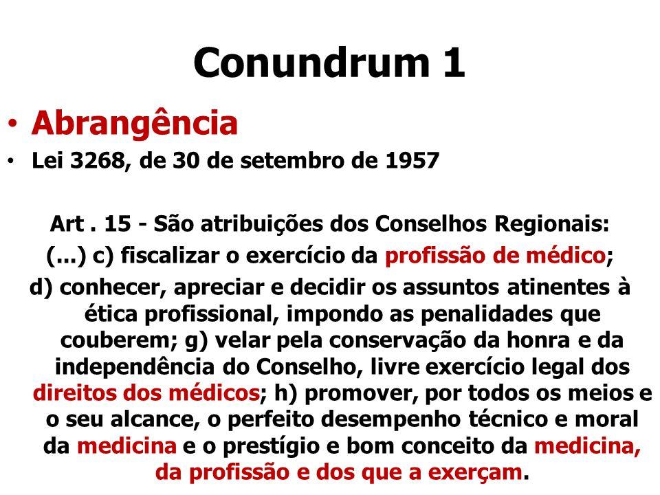 Conundrum 1 Abrangência Lei 3268, de 30 de setembro de 1957 Art. 15 - São atribuições dos Conselhos Regionais: (...) c) fiscalizar o exercício da prof