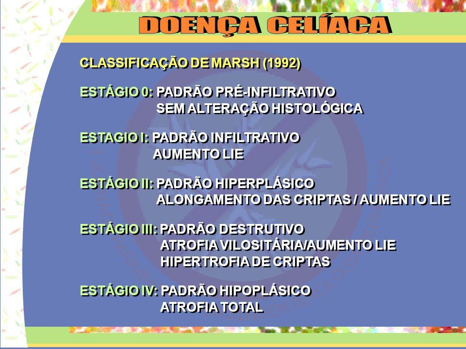 CLASSIFICAÇÃO DE MARSH (1992) ESTÁGIO 0: PADRÃO PRÉ-INFILTRATIVO SEM ALTERAÇÃO HISTOLÓGICA ESTAGIO I: PADRÃO INFILTRATIVO AUMENTO LIE ESTÁGIO II: PADR