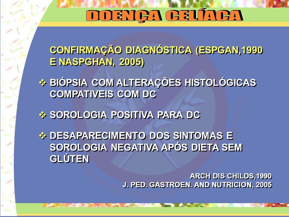 CONFIRMAÇÃO DIAGNÓSTICA (ESPGAN,1990 E NASPGHAN, 2005) BIÓPSIA COM ALTERAÇÕES HISTOLÓGICAS COMPATIVEIS COM DC SOROLOGIA POSITIVA PARA DC DESAPARECIMEN