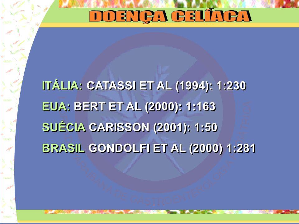 ITÁLIA: CATASSI ET AL (1994): 1:230 EUA: BERT ET AL (2000): 1:163 SUÉCIA CARISSON (2001): 1:50 BRASIL GONDOLFI ET AL (2000) 1:281 ITÁLIA: CATASSI ET A