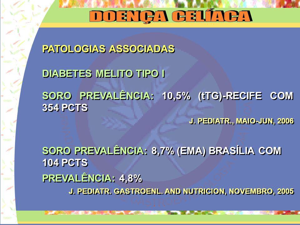 PATOLOGIAS ASSOCIADAS DIABETES MELITO TIPO I SORO PREVALÊNCIA: 10,5% (tTG)-RECIFE COM 354 PCTS J. PEDIATR., MAIO-JUN, 2006 SORO PREVALÊNCIA: 8,7% (EMA