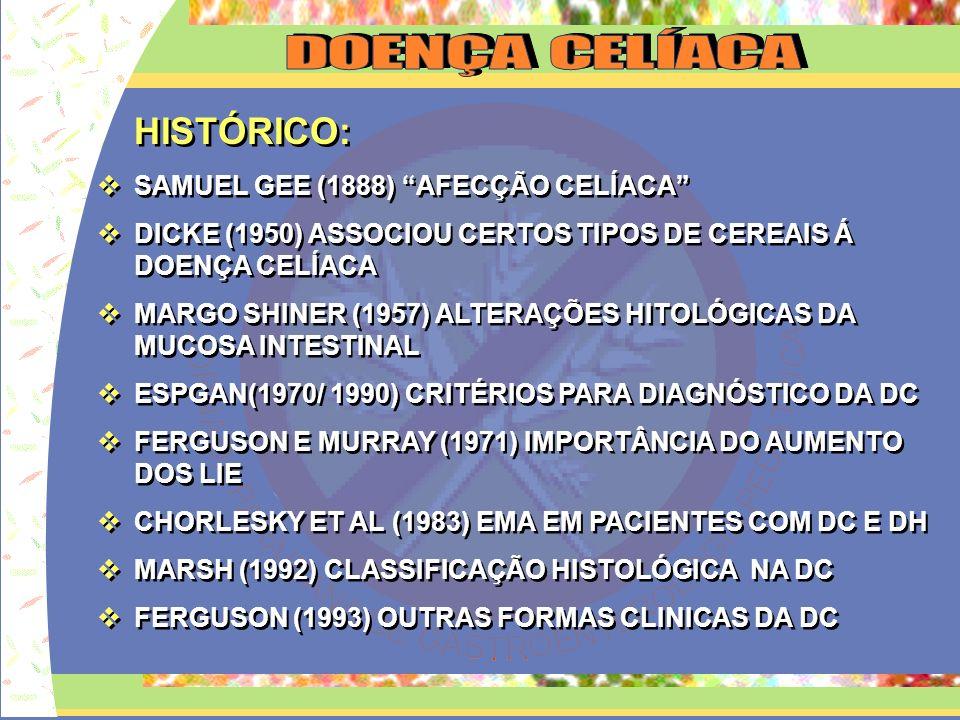 HISTÓRICO: SAMUEL GEE (1888) AFECÇÃO CELÍACA DICKE (1950) ASSOCIOU CERTOS TIPOS DE CEREAIS Á DOENÇA CELÍACA MARGO SHINER (1957) ALTERAÇÕES HITOLÓGICAS