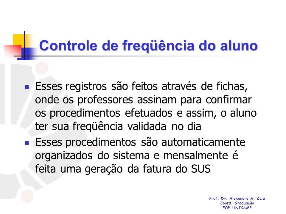Controle de freqüência do aluno Esses registros são feitos através de fichas, onde os professores assinam para confirmar os procedimentos efetuados e