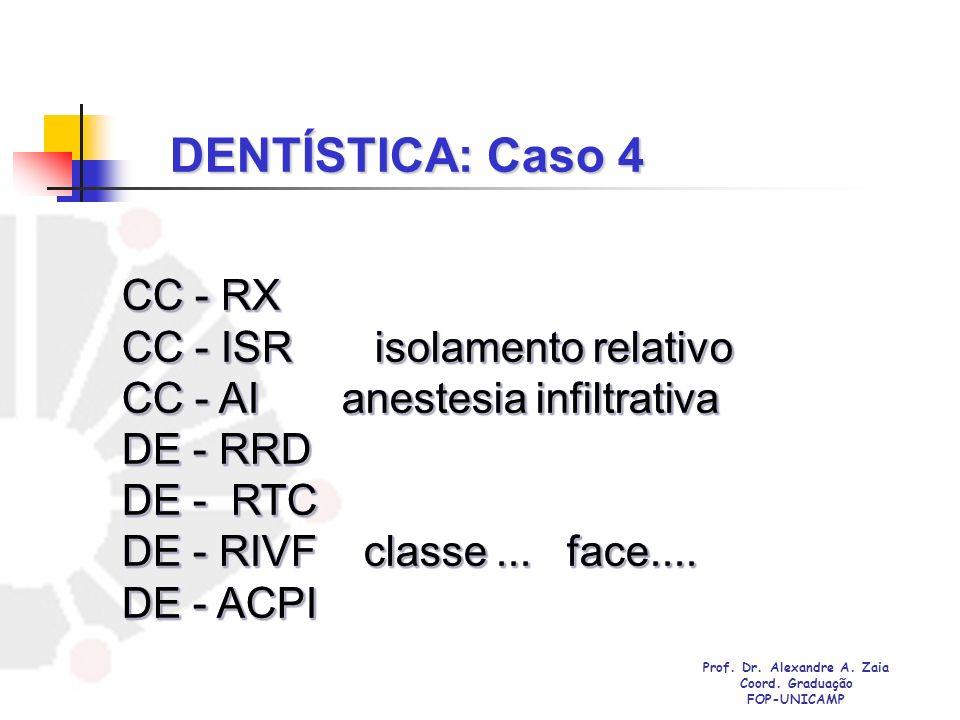 DENTÍSTICA: Caso 4 CC - RX CC - ISR isolamento relativo CC - AI anestesia infiltrativa DE - RRD DE - RTC DE - RIVF classe... face.... DE - ACPI CC - R