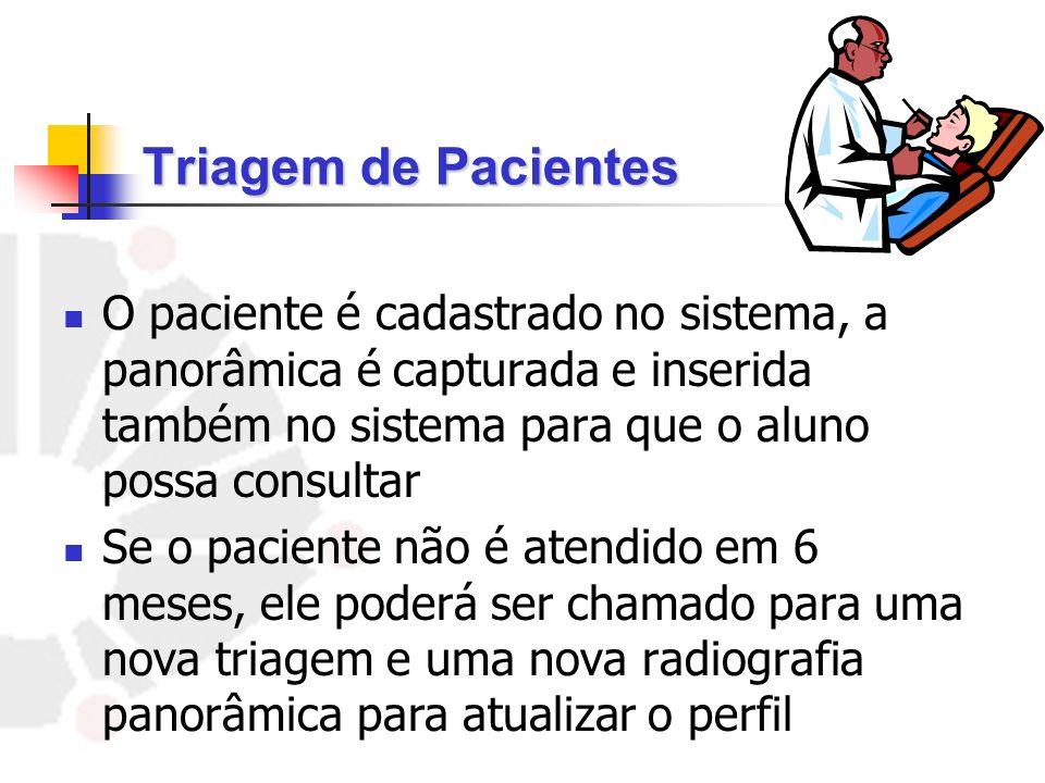 O paciente é cadastrado no sistema, a panorâmica é capturada e inserida também no sistema para que o aluno possa consultar Se o paciente não é atendid