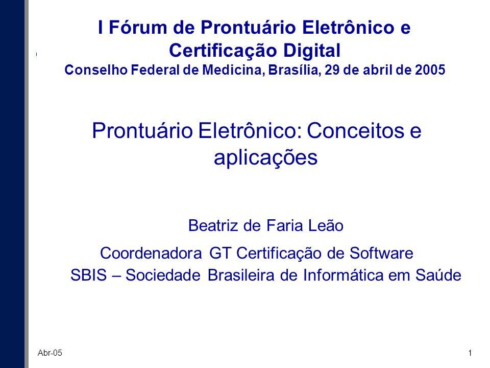 1 Abr-05 I Fórum de Prontuário Eletrônico e Certificação Digital Conselho Federal de Medicina, Brasília, 29 de abril de 2005 Prontuário Eletrônico: Co