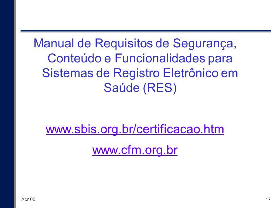 17 Abr-05 Manual de Requisitos de Segurança, Conteúdo e Funcionalidades para Sistemas de Registro Eletrônico em Saúde (RES) www.sbis.org.br/certificac