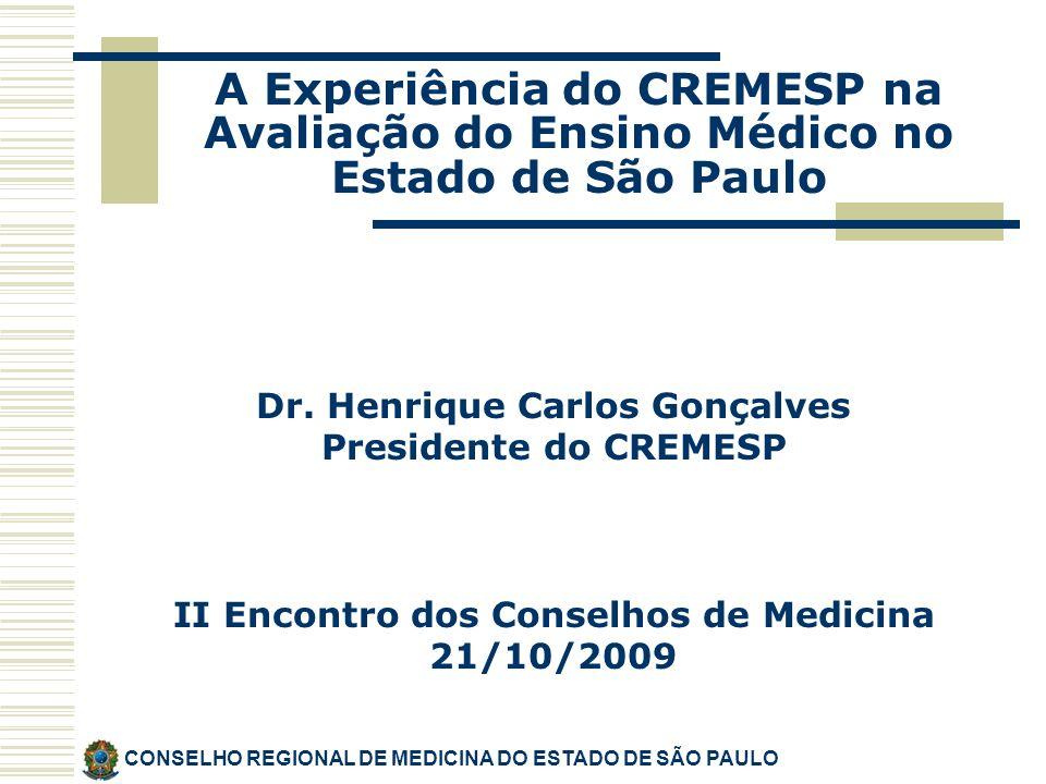 Dr. Henrique Carlos Gonçalves Presidente do CREMESP II Encontro dos Conselhos de Medicina 21/10/2009 CONSELHO REGIONAL DE MEDICINA DO ESTADO DE SÃO PA