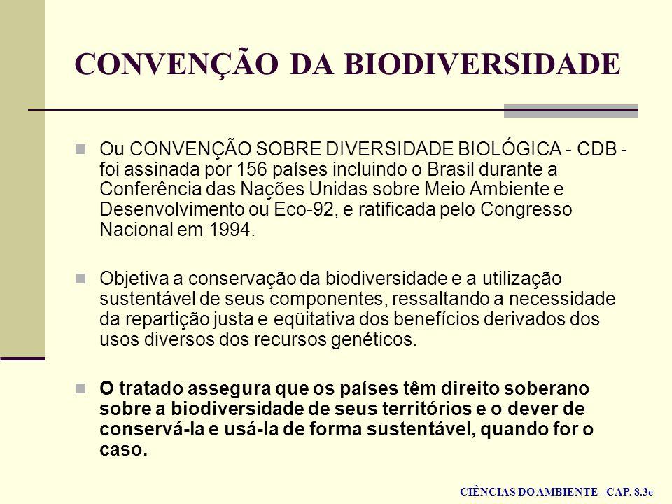 CONVENÇÃO DA BIODIVERSIDADE Ou CONVENÇÃO SOBRE DIVERSIDADE BIOLÓGICA - CDB - foi assinada por 156 países incluindo o Brasil durante a Conferência das