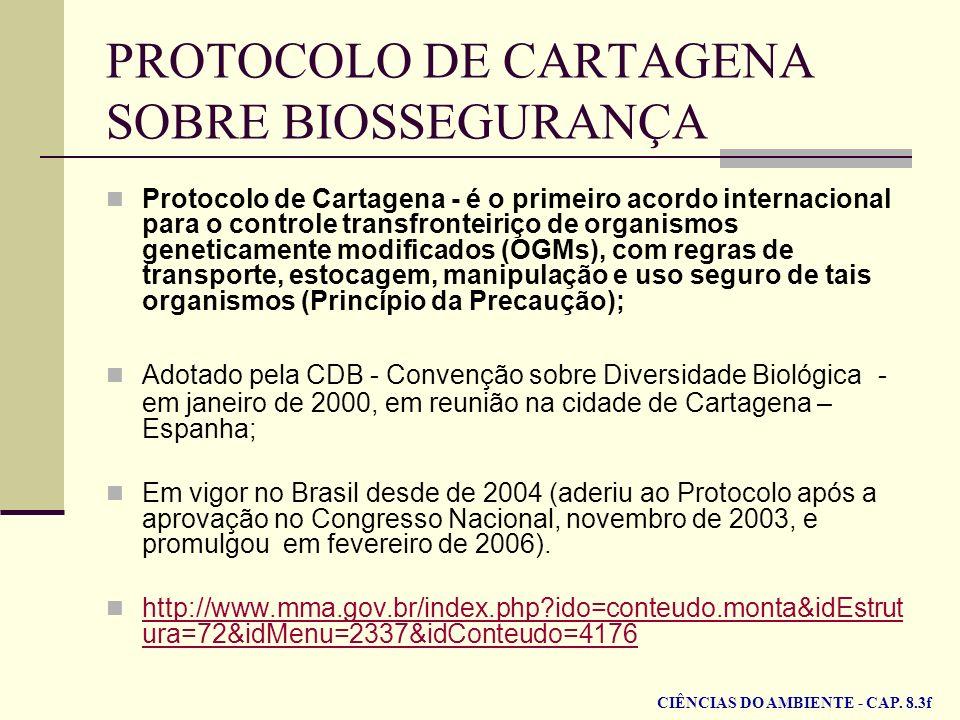 PROTOCOLO DE CARTAGENA SOBRE BIOSSEGURANÇA Protocolo de Cartagena - é o primeiro acordo internacional para o controle transfronteiriço de organismos g