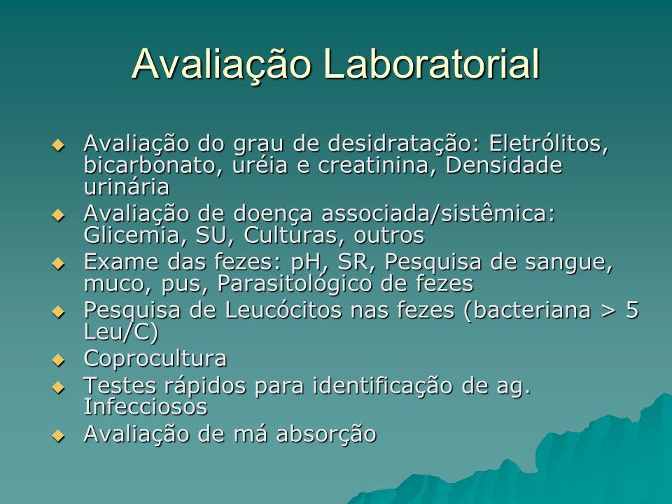 Avaliação Laboratorial Avaliação do grau de desidratação: Eletrólitos, bicarbonato, uréia e creatinina, Densidade urinária Avaliação do grau de desidratação: Eletrólitos, bicarbonato, uréia e creatinina, Densidade urinária Avaliação de doença associada/sistêmica: Glicemia, SU, Culturas, outros Avaliação de doença associada/sistêmica: Glicemia, SU, Culturas, outros Exame das fezes: pH, SR, Pesquisa de sangue, muco, pus, Parasitológico de fezes Exame das fezes: pH, SR, Pesquisa de sangue, muco, pus, Parasitológico de fezes Pesquisa de Leucócitos nas fezes (bacteriana > 5 Leu/C) Pesquisa de Leucócitos nas fezes (bacteriana > 5 Leu/C) Coprocultura Coprocultura Testes rápidos para identificação de ag.