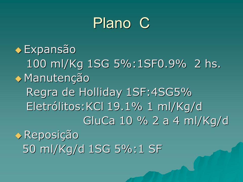 Plano C Expansão Expansão 100 ml/Kg 1SG 5%:1SF0.9% 2 hs.