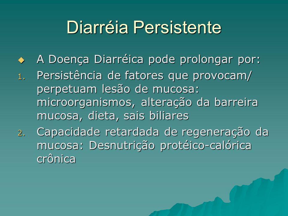 Diarréia Persistente A Doença Diarréica pode prolongar por: A Doença Diarréica pode prolongar por: 1.