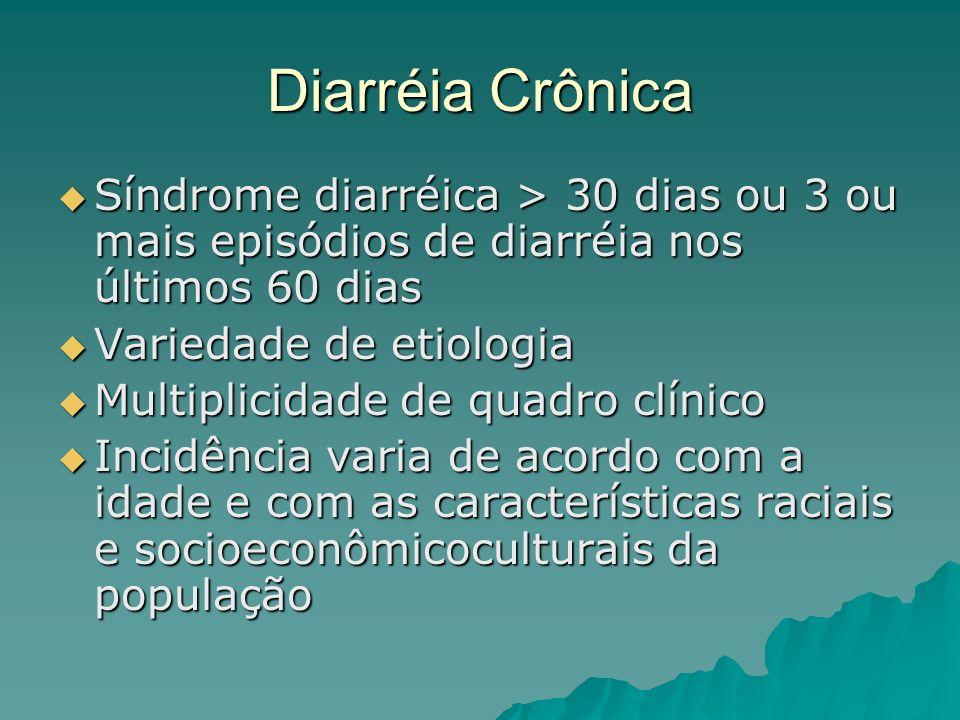 Diarréia Crônica Síndrome diarréica > 30 dias ou 3 ou mais episódios de diarréia nos últimos 60 dias Síndrome diarréica > 30 dias ou 3 ou mais episódios de diarréia nos últimos 60 dias Variedade de etiologia Variedade de etiologia Multiplicidade de quadro clínico Multiplicidade de quadro clínico Incidência varia de acordo com a idade e com as características raciais e socioeconômicoculturais da população Incidência varia de acordo com a idade e com as características raciais e socioeconômicoculturais da população