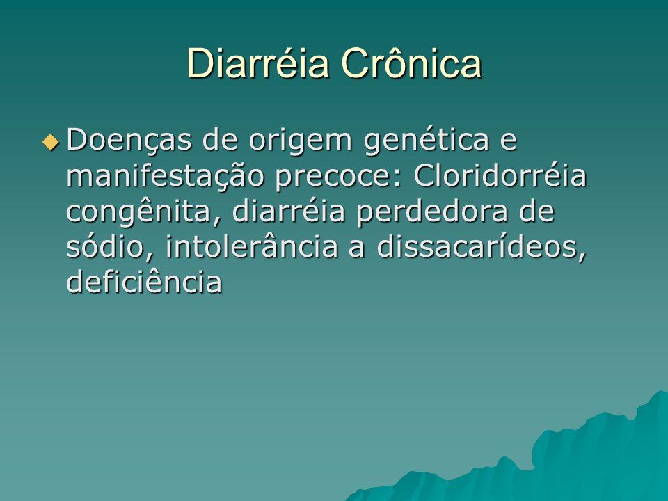Diarréia Crônica Doenças de origem genética e manifestação precoce: Cloridorréia congênita, diarréia perdedora de sódio, intolerância a dissacarídeos, deficiência Doenças de origem genética e manifestação precoce: Cloridorréia congênita, diarréia perdedora de sódio, intolerância a dissacarídeos, deficiência