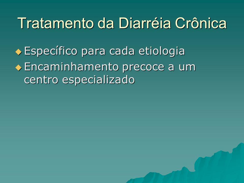 Tratamento da Diarréia Crônica Específico para cada etiologia Específico para cada etiologia Encaminhamento precoce a um centro especializado Encaminhamento precoce a um centro especializado