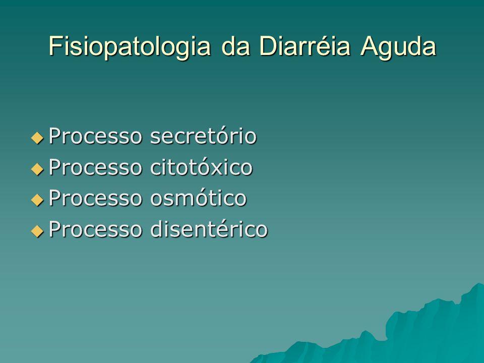 Fisiopatologia da Diarréia Aguda Processo secretório Processo secretório Processo citotóxico Processo citotóxico Processo osmótico Processo osmótico Processo disentérico Processo disentérico