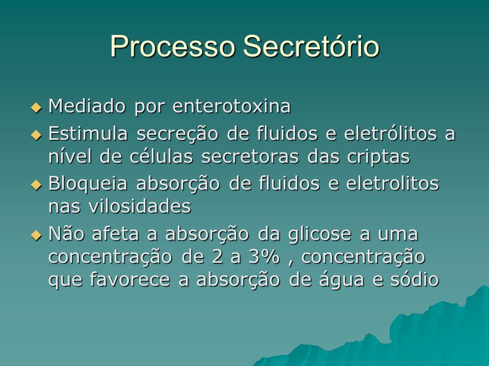 Processo Secretório Mediado por enterotoxina Mediado por enterotoxina Estimula secreção de fluidos e eletrólitos a nível de células secretoras das criptas Estimula secreção de fluidos e eletrólitos a nível de células secretoras das criptas Bloqueia absorção de fluidos e eletrolitos nas vilosidades Bloqueia absorção de fluidos e eletrolitos nas vilosidades Não afeta a absorção da glicose a uma concentração de 2 a 3%, concentração que favorece a absorção de água e sódio Não afeta a absorção da glicose a uma concentração de 2 a 3%, concentração que favorece a absorção de água e sódio