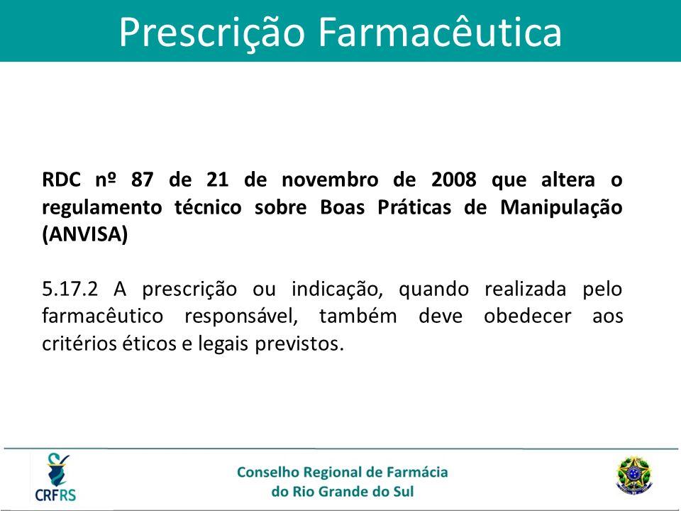 Prescrição Farmacêutica RDC nº 87 de 21 de novembro de 2008 que altera o regulamento técnico sobre Boas Práticas de Manipulação (ANVISA) 5.17.2 A pres
