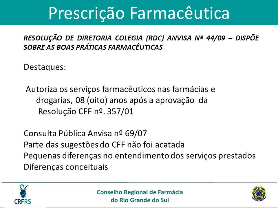 Prescrição Farmacêutica RESOLUÇÃO DE DIRETORIA COLEGIA (RDC) ANVISA Nº 44/09 – DISPÕE SOBRE AS BOAS PRÁTICAS FARMACÊUTICAS Destaques: Autoriza os serv