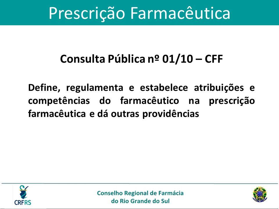 Consulta Pública nº 01/10 – CFF Define, regulamenta e estabelece atribuições e competências do farmacêutico na prescrição farmacêutica e dá outras pro