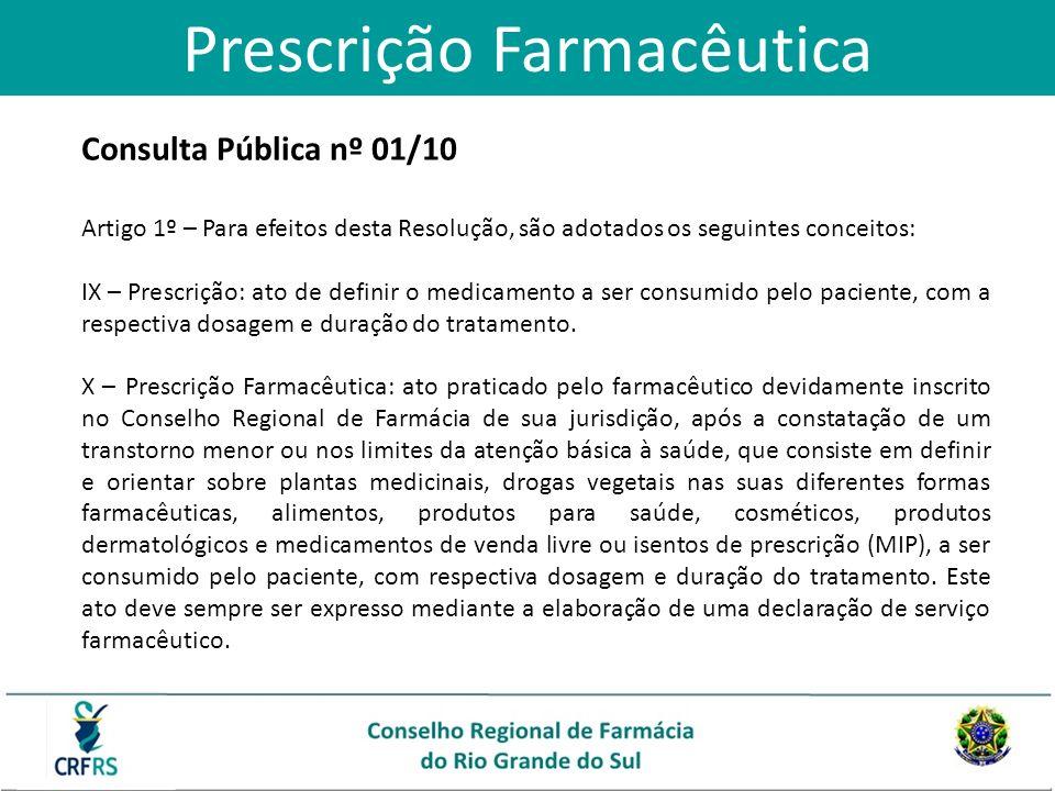 Consulta Pública nº 01/10 Artigo 1º – Para efeitos desta Resolução, são adotados os seguintes conceitos: IX – Prescrição: ato de definir o medicamento