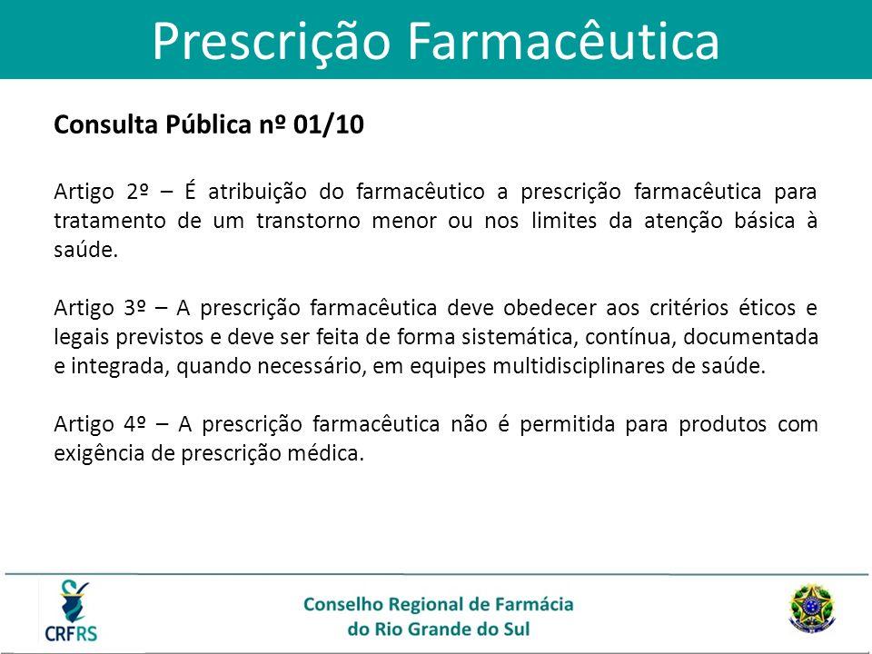 Consulta Pública nº 01/10 Artigo 2º – É atribuição do farmacêutico a prescrição farmacêutica para tratamento de um transtorno menor ou nos limites da
