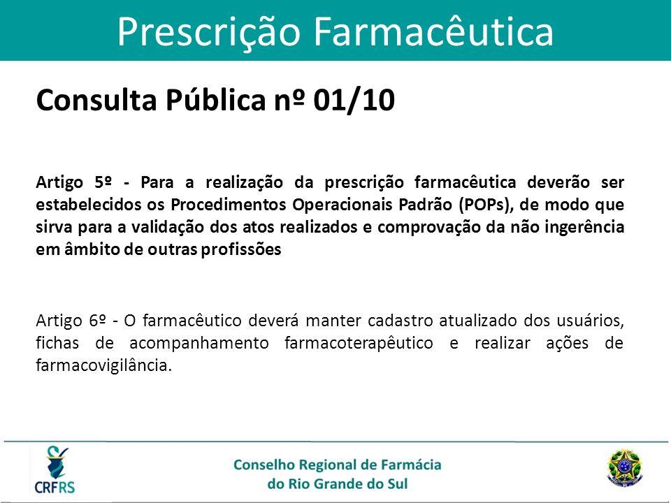 Consulta Pública nº 01/10 Artigo 5º - Para a realização da prescrição farmacêutica deverão ser estabelecidos os Procedimentos Operacionais Padrão (POP