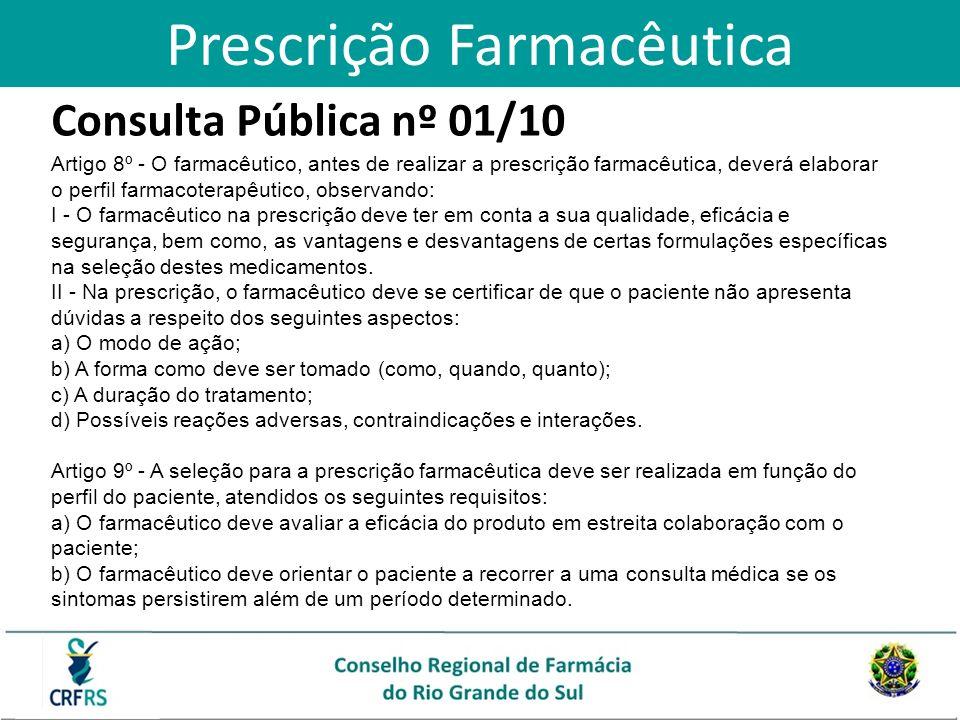 Consulta Pública nº 01/10 Artigo 8º - O farmacêutico, antes de realizar a prescrição farmacêutica, deverá elaborar o perfil farmacoterapêutico, observ