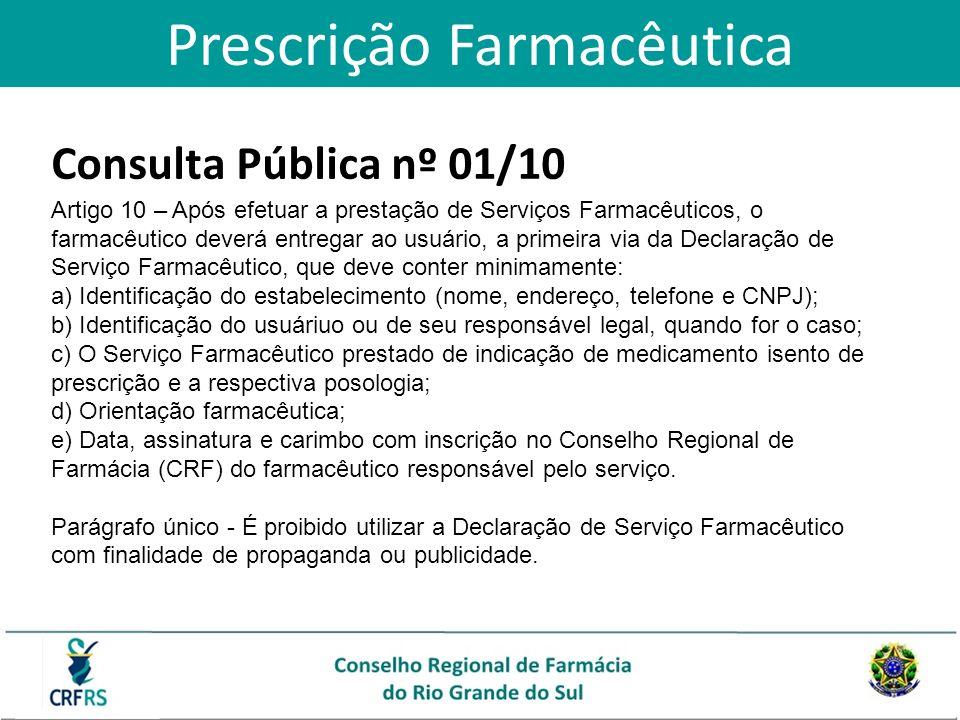 Consulta Pública nº 01/10 Artigo 10 – Após efetuar a prestação de Serviços Farmacêuticos, o farmacêutico deverá entregar ao usuário, a primeira via da