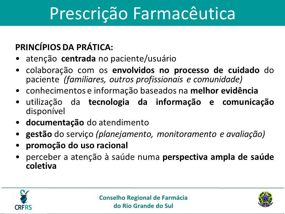 Prescrição Farmacêutica PRINCÍPIOS DA PRÁTICA: atenção centrada no paciente/usuário colaboração com os envolvidos no processo de cuidado do paciente (