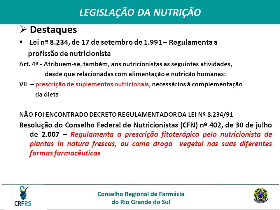 Destaques Lei nº 8.234, de 17 de setembro de 1.991 – Regulamenta a profissão de nutricionista Art. 4º - Atribuem-se, também, aos nutricionistas as seg