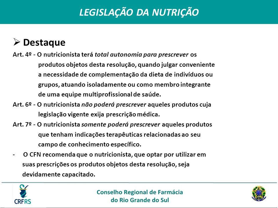 Destaque Art. 4º - O nutricionista terá total autonomia para prescrever os produtos objetos desta resolução, quando julgar conveniente a necessidade d