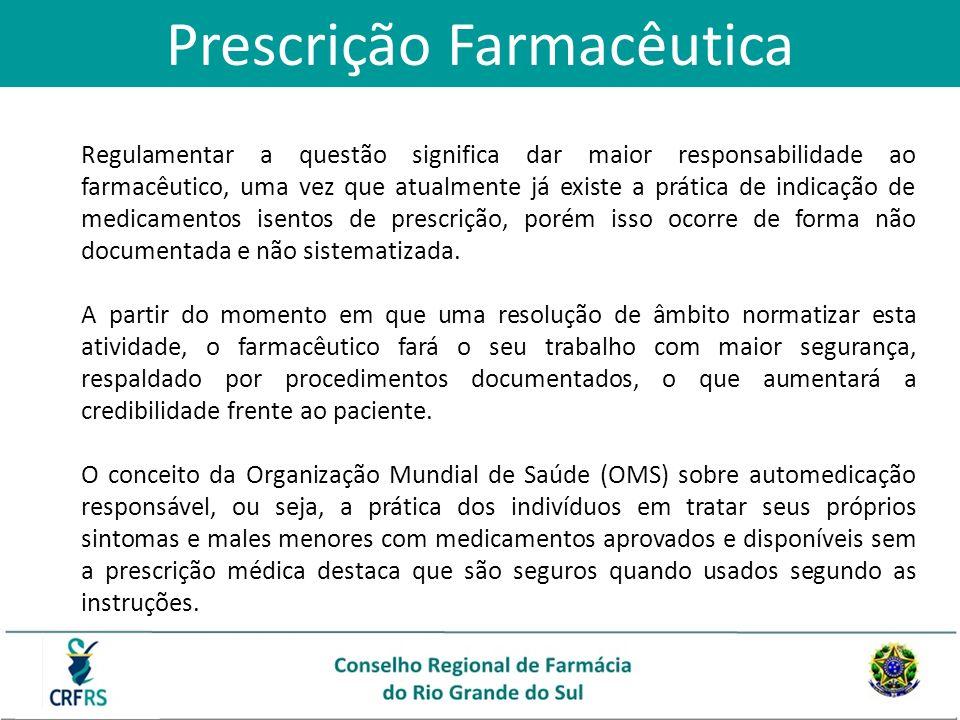 Prescrição Farmacêutica Regulamentar a questão significa dar maior responsabilidade ao farmacêutico, uma vez que atualmente já existe a prática de ind