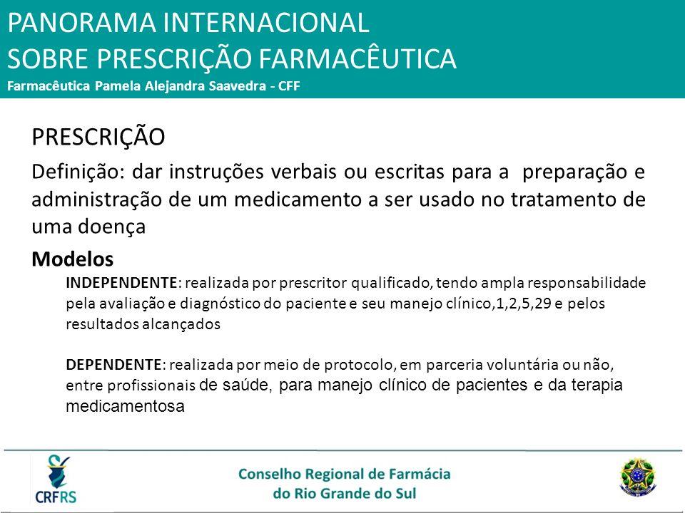 PANORAMA INTERNACIONAL SOBRE PRESCRIÇÃO FARMACÊUTICA Farmacêutica Pamela Alejandra Saavedra - CFF PRESCRIÇÃO Definição: dar instruções verbais ou escr