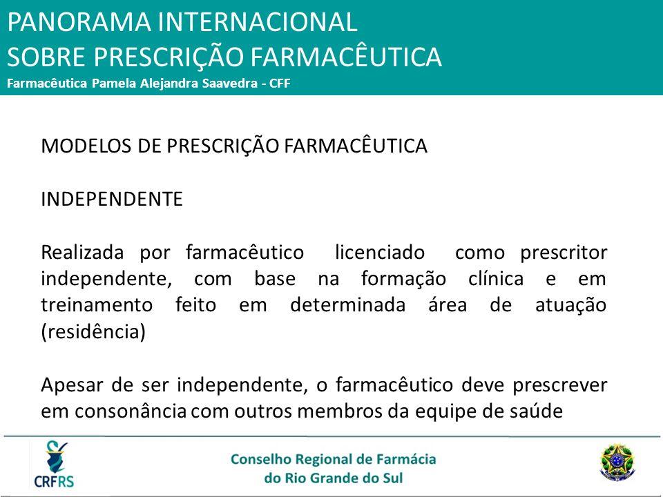 PANORAMA INTERNACIONAL SOBRE PRESCRIÇÃO FARMACÊUTICA Farmacêutica Pamela Alejandra Saavedra - CFF MODELOS DE PRESCRIÇÃO FARMACÊUTICA INDEPENDENTE Real