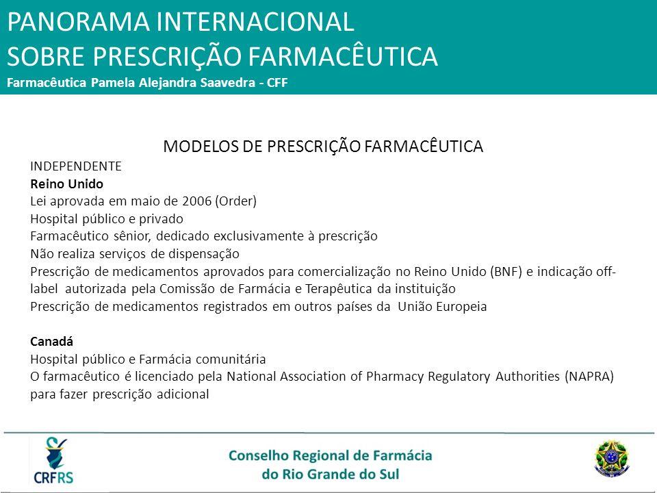 PANORAMA INTERNACIONAL SOBRE PRESCRIÇÃO FARMACÊUTICA Farmacêutica Pamela Alejandra Saavedra - CFF MODELOS DE PRESCRIÇÃO FARMACÊUTICA INDEPENDENTE Rein