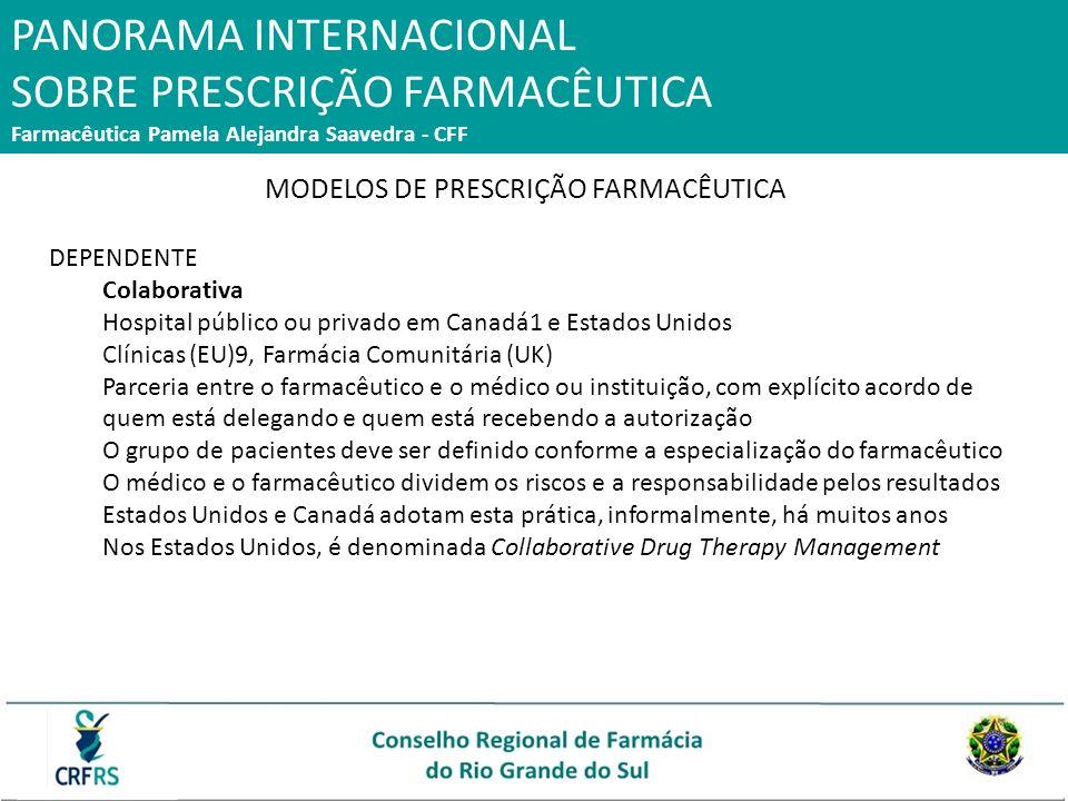 PANORAMA INTERNACIONAL SOBRE PRESCRIÇÃO FARMACÊUTICA Farmacêutica Pamela Alejandra Saavedra - CFF MODELOS DE PRESCRIÇÃO FARMACÊUTICA DEPENDENTE Colabo