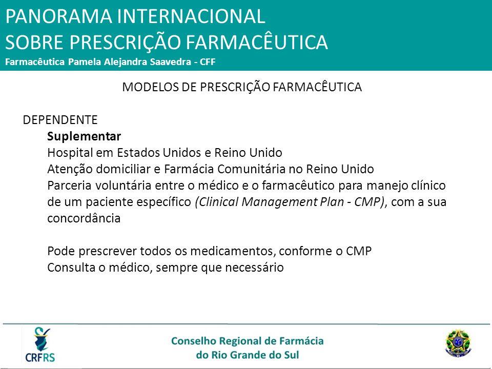 PANORAMA INTERNACIONAL SOBRE PRESCRIÇÃO FARMACÊUTICA Farmacêutica Pamela Alejandra Saavedra - CFF MODELOS DE PRESCRIÇÃO FARMACÊUTICA DEPENDENTE Suplem
