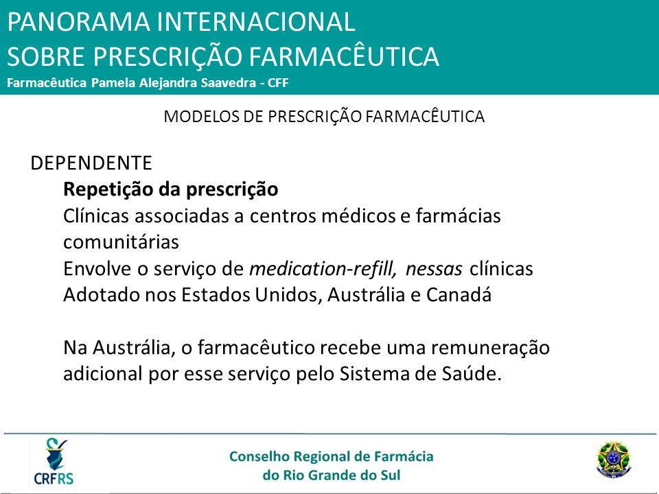 PANORAMA INTERNACIONAL SOBRE PRESCRIÇÃO FARMACÊUTICA Farmacêutica Pamela Alejandra Saavedra - CFF MODELOS DE PRESCRIÇÃO FARMACÊUTICA DEPENDENTE Repeti