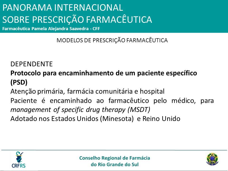 PANORAMA INTERNACIONAL SOBRE PRESCRIÇÃO FARMACÊUTICA Farmacêutica Pamela Alejandra Saavedra - CFF MODELOS DE PRESCRIÇÃO FARMACÊUTICA DEPENDENTE Protoc