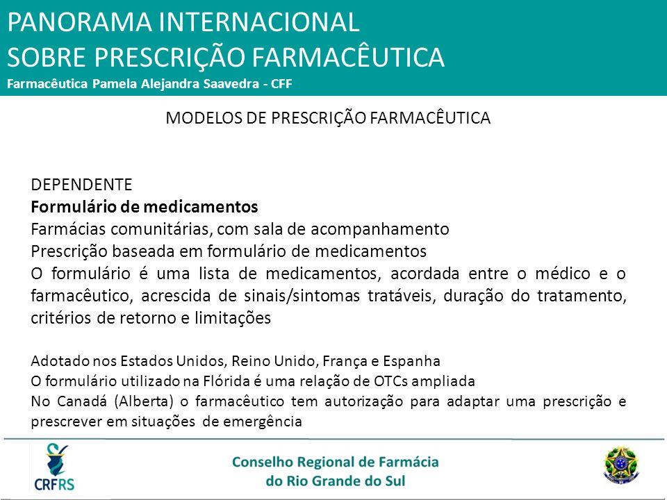 PANORAMA INTERNACIONAL SOBRE PRESCRIÇÃO FARMACÊUTICA Farmacêutica Pamela Alejandra Saavedra - CFF MODELOS DE PRESCRIÇÃO FARMACÊUTICA DEPENDENTE Formul