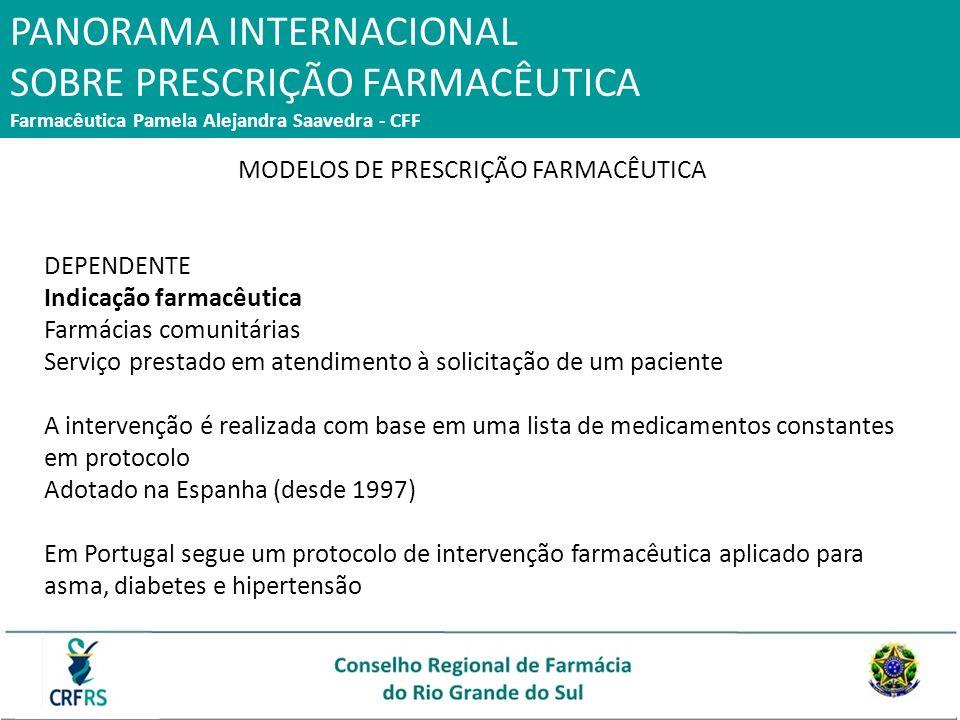 PANORAMA INTERNACIONAL SOBRE PRESCRIÇÃO FARMACÊUTICA Farmacêutica Pamela Alejandra Saavedra - CFF MODELOS DE PRESCRIÇÃO FARMACÊUTICA DEPENDENTE Indica