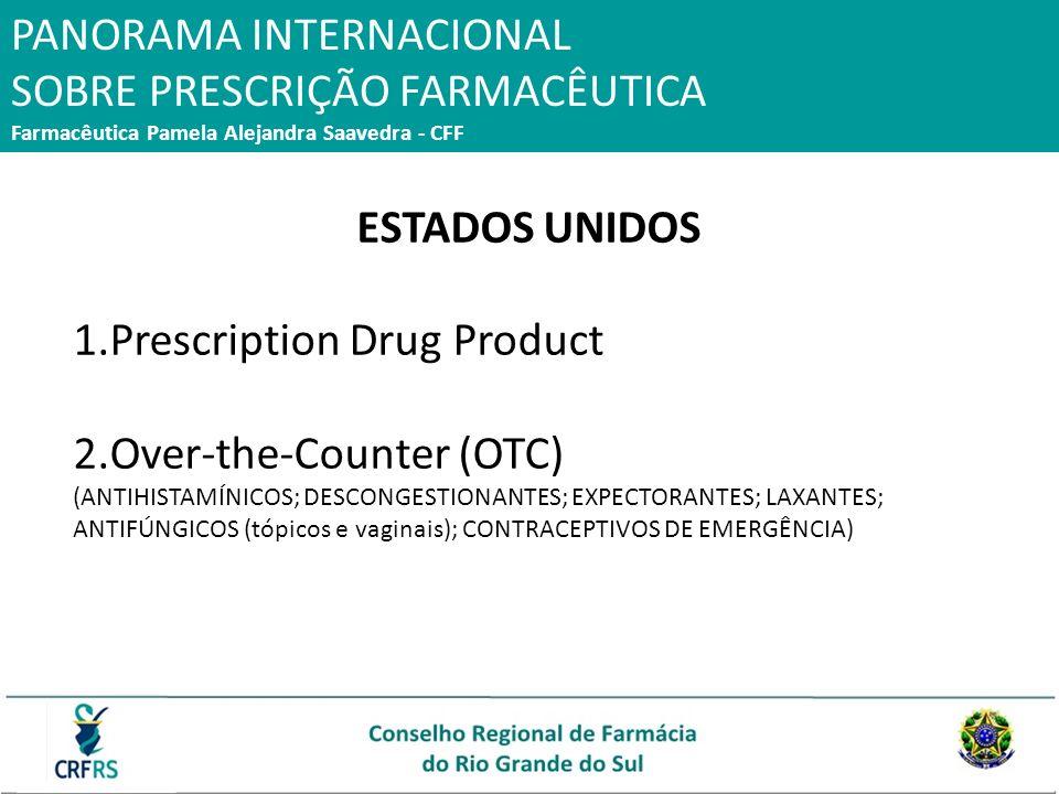 ESTADOS UNIDOS 1.Prescription Drug Product 2.Over-the-Counter (OTC) (ANTIHISTAMÍNICOS; DESCONGESTIONANTES; EXPECTORANTES; LAXANTES; ANTIFÚNGICOS (tópi