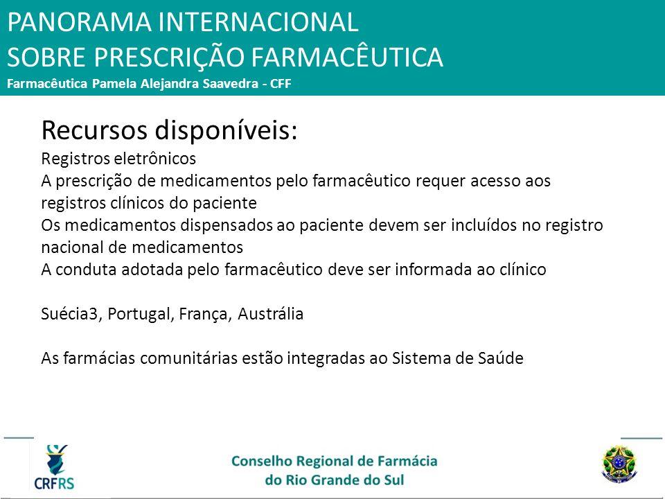 Recursos disponíveis: Registros eletrônicos A prescrição de medicamentos pelo farmacêutico requer acesso aos registros clínicos do paciente Os medicam