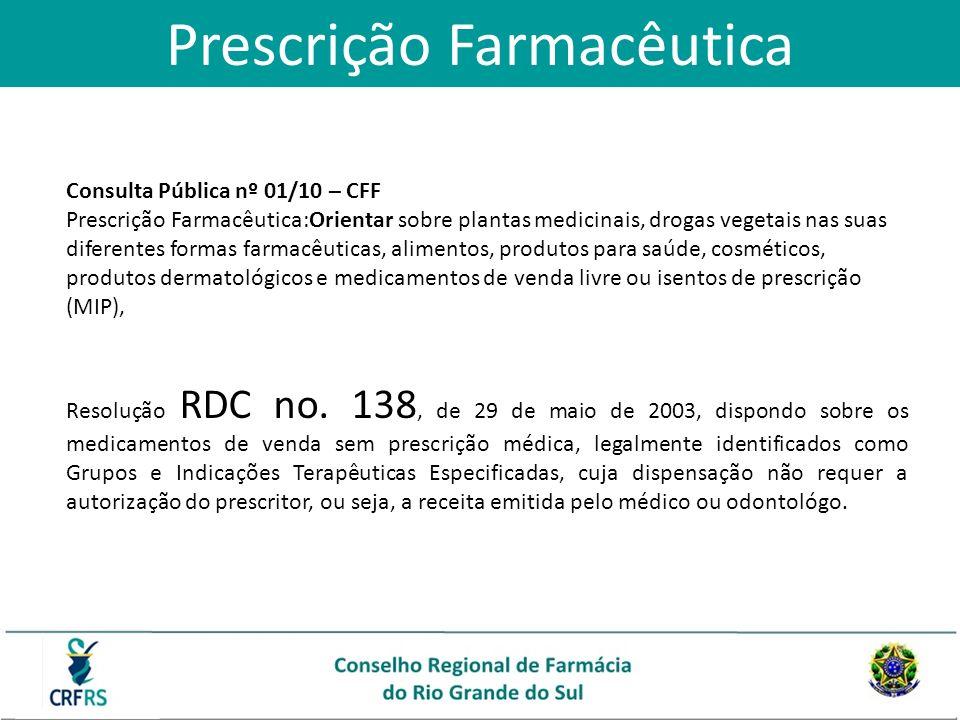 Consulta Pública nº 01/10 – CFF Prescrição Farmacêutica:Orientar sobre plantas medicinais, drogas vegetais nas suas diferentes formas farmacêuticas, a