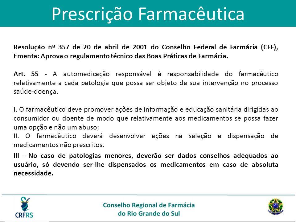 Prescrição Farmacêutica Resolução nº 357 de 20 de abril de 2001 do Conselho Federal de Farmácia (CFF), Ementa: Aprova o regulamento técnico das Boas P