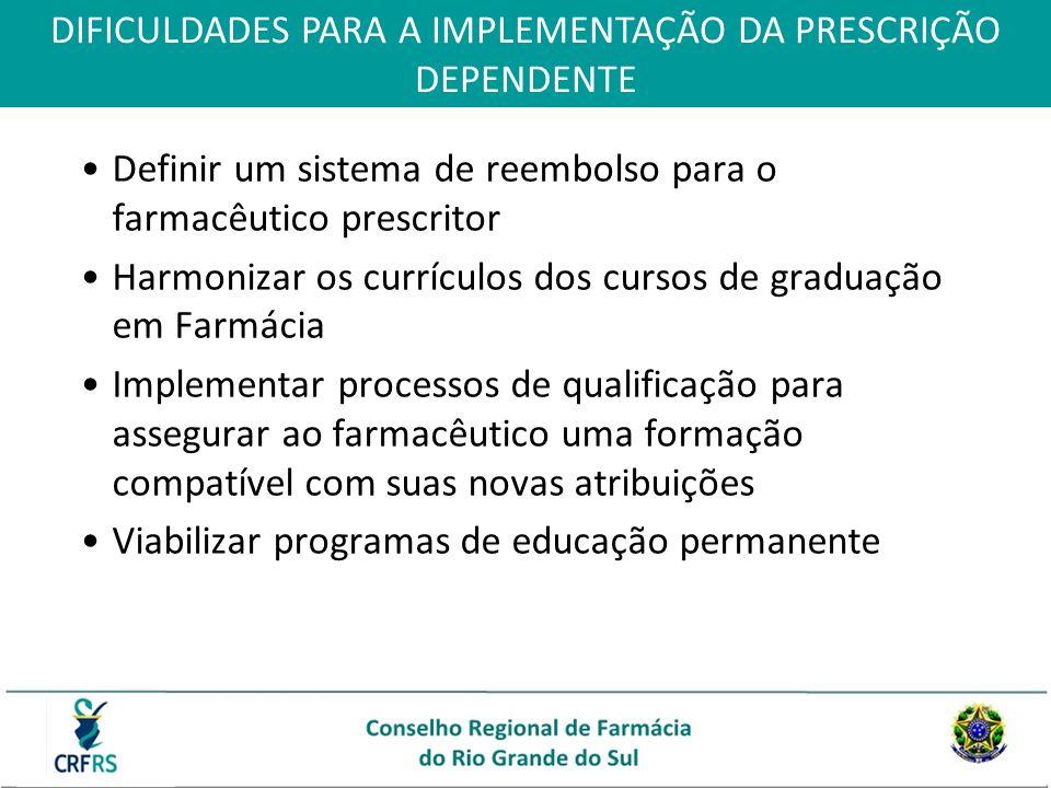 Definir um sistema de reembolso para o farmacêutico prescritor Harmonizar os currículos dos cursos de graduação em Farmácia Implementar processos de q